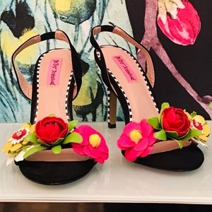 Betsey Johnson Floral Black & White Stripe Sandals